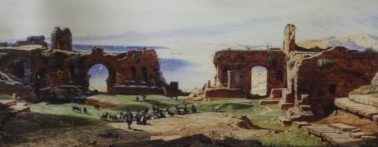 Taormina - Théâtre Grec - Petite expo de peintures