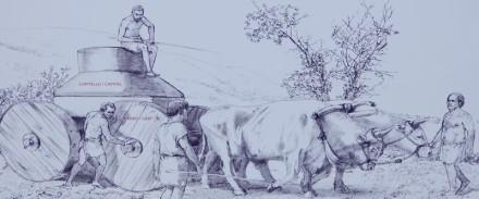 Site archéologique de la Vallée des Temples - Panneau explicatif - Transport de blocs