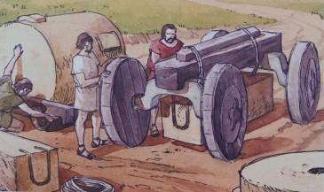 Site archéologique de la Vallée des Temples - Panneau explicatif - - Transport des blocs