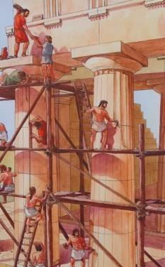 Site archéologique de la Vallée des Temples - Panneau explicatif - Canelage des colonnes