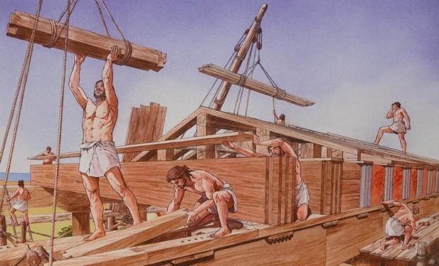 Site archéologique de la Vallée des Temples - Panneau explicatif - Travail du bois pour la charpente